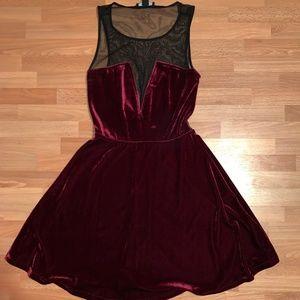 F21 Red Velvet Dress with Black Mesh Top
